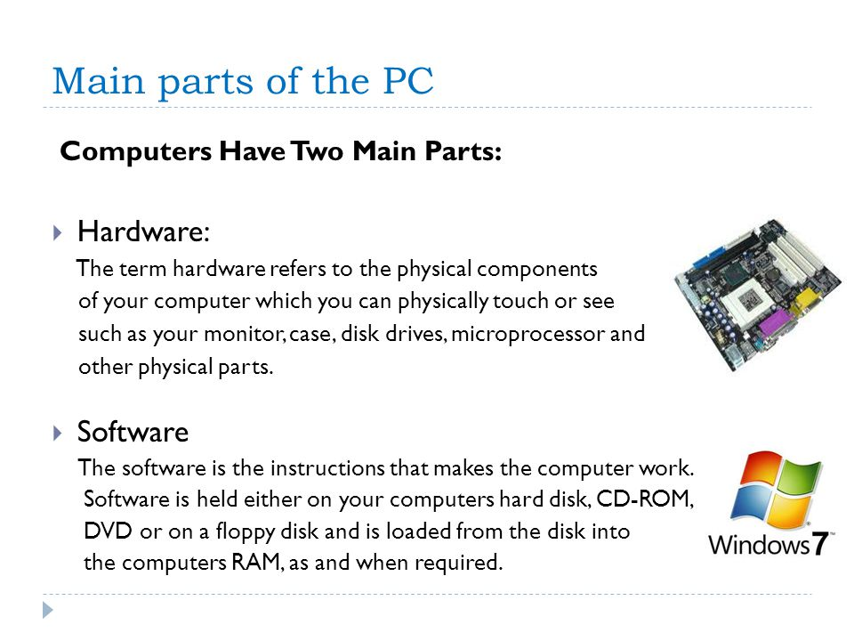 Main parts of the PC Computers Have Two Main Parts: Hardware: The term hardware refers to the physical components of your computer which you can physi