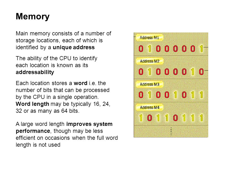 Memory Main memory consists of a number of storage locations, each of which is identified by a unique address The ability of the CPU to identify each location is known as its addressability Each location stores a word i.e.
