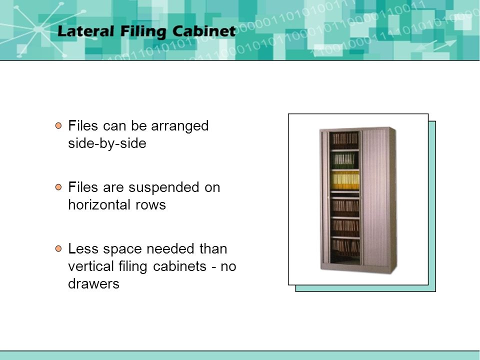 Files can be arranged side-by-side Files are suspended on horizontal rows Less space needed than vertical filing cabinets - no drawers