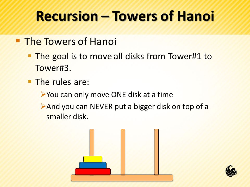 Recursion – Towers of Hanoi The Towers of Hanoi The goal is to move all disks from Tower#1 to Tower#3. The rules are: You can only move ONE disk at a