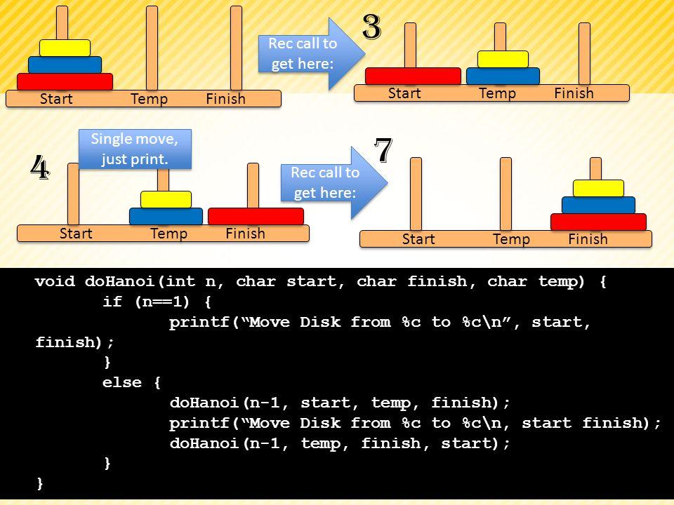 void doHanoi(int n, char start, char finish, char temp) { if (n==1) { printf(Move Disk from %c to %c\n, start, finish); } else { doHanoi(n-1, start, t