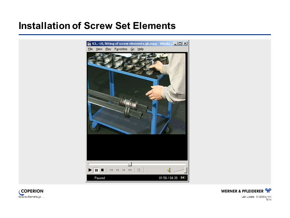 19-ScrewElements.gb...Last Update: 01.2003/by:MK 19.14 Installation of Screw Set Elements