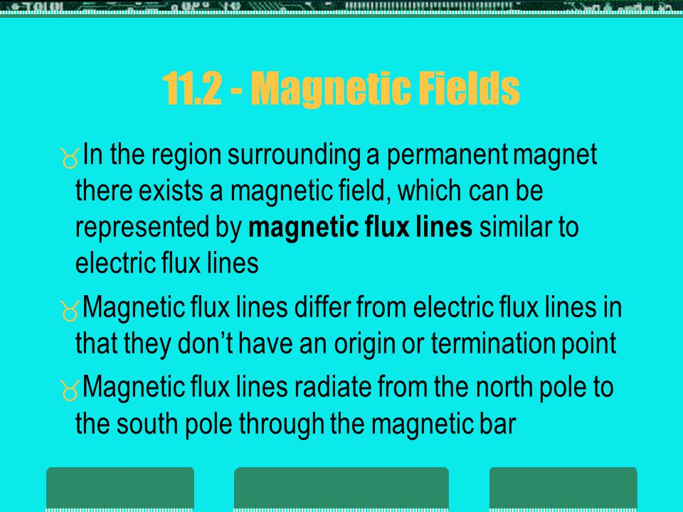 Magnetic Fields Continuous magnetic flux lines will strive to occupy as small an area as possible The strength of a magnetic field in a given region is directly related to the density of flux lines in that region If unlike poles of two permanent magnets are brought together the magnets will attract, and the flux distribution will be as shown below