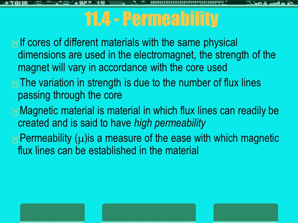 Permeability Permeability of free space 0 (vacuum) is Materials that have permeability slightly less than that of free space are said to be diamagnetic and those with permeability slightly greater than that of free space are said to be paramagnetic 0 = 4 x 10 -7 Wb A m