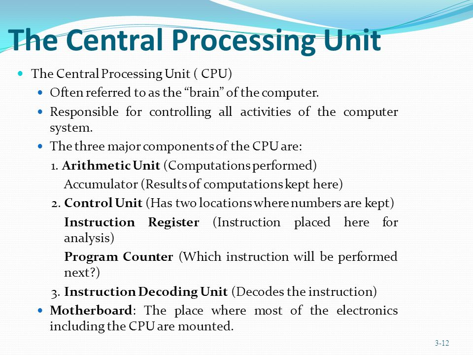 The Central Processing Unit The Central Processing Unit ( CPU) Often referred to as the brain of the computer. Responsible for controlling all activit