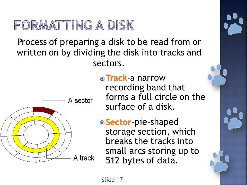 Track Track-a narrow recording band that forms a full circle on the surface of a disk.