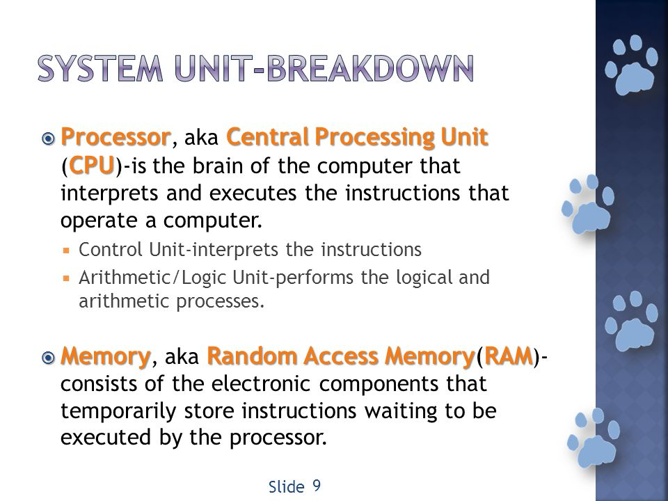 ProcessorCentralProcessingUnit CPU Processor, aka Central Processing Unit ( CPU )-is the brain of the computer that interprets and executes the instructions that operate a computer.