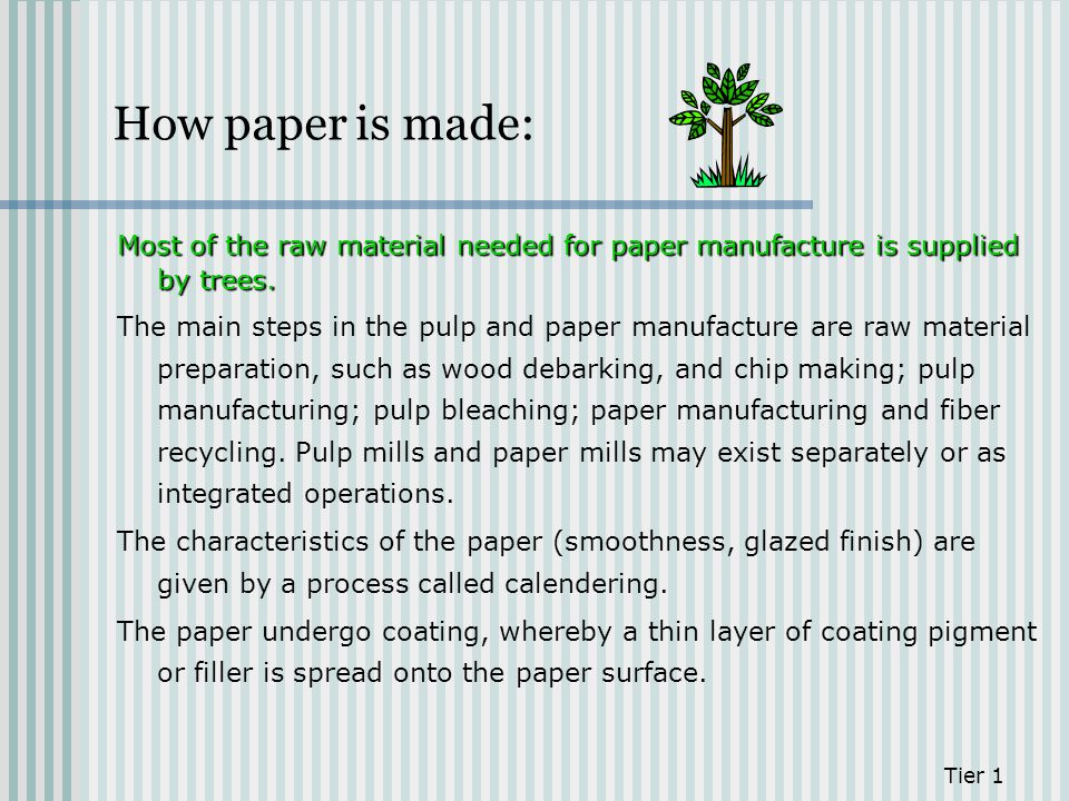 How paper is made: Most of the raw material needed for paper manufacture is supplied by trees. The main steps in the pulp and paper manufacture are ra
