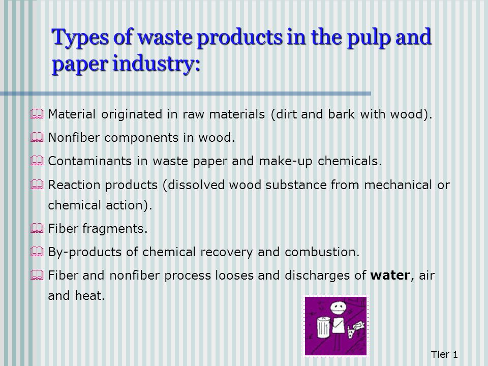 Types of waste products in the pulp and paper industry: Material originated in raw materials (dirt and bark with wood). Nonfiber components in wood. C