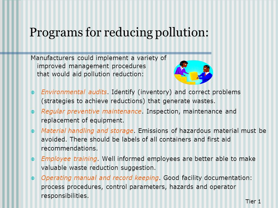 Programs for reducing pollution: Manufacturers could implement a variety of improved management procedures that would aid pollution reduction: Environ