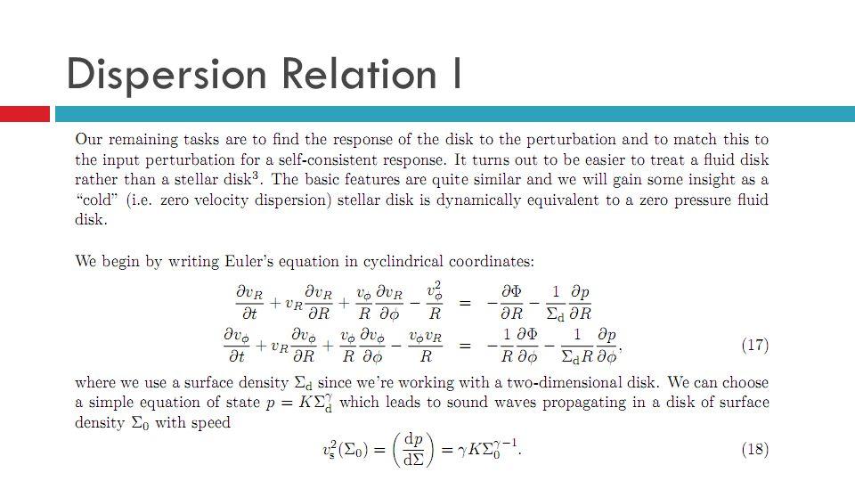 Dispersion Relation I
