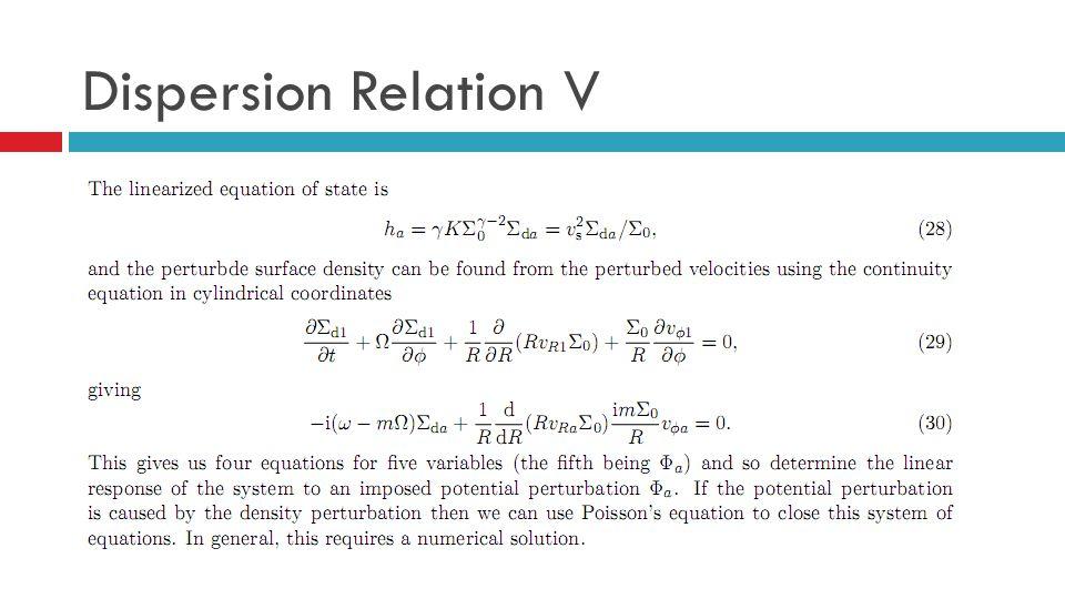 Dispersion Relation V