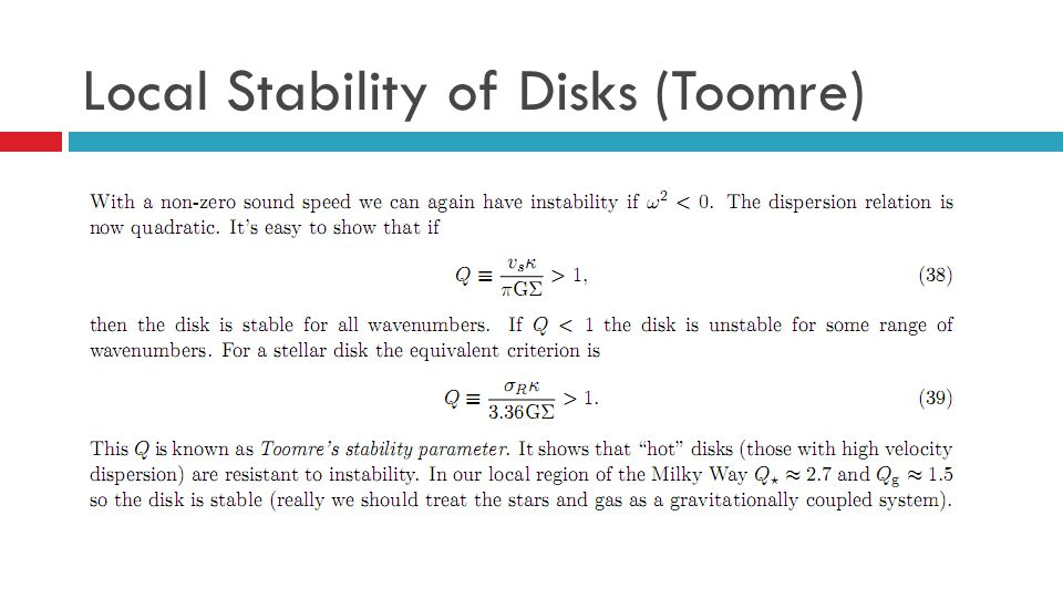 Local Stability of Disks (Toomre)