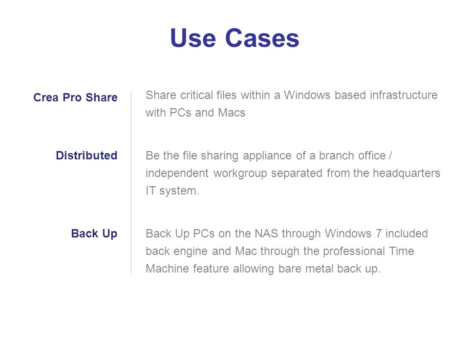 Share critical files within a Windows based infrastructure with PCs and Macs Be the file sharing appliance of a branch office / independent workgroup