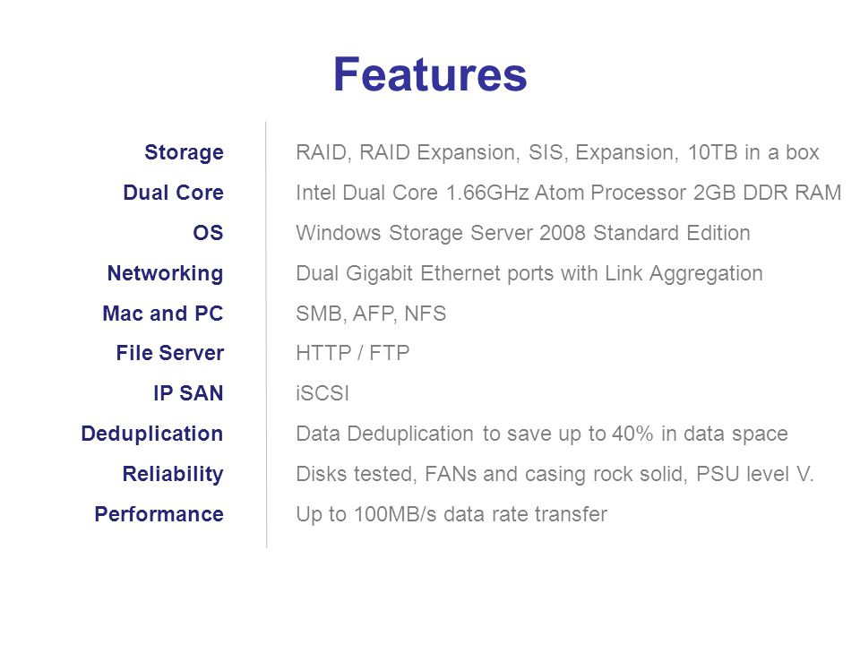 RAID, RAID Expansion, SIS, Expansion, 10TB in a box Intel Dual Core 1.66GHz Atom Processor 2GB DDR RAM Windows Storage Server 2008 Standard Edition Dual Gigabit Ethernet ports with Link Aggregation SMB, AFP, NFS HTTP / FTP iSCSI Data Deduplication to save up to 40% in data space Disks tested, FANs and casing rock solid, PSU level V.