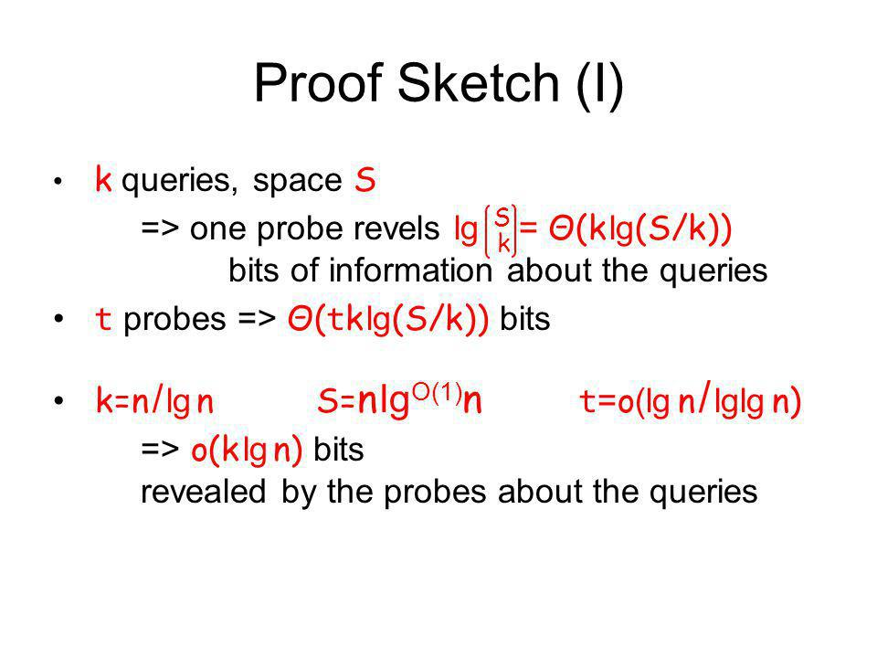Proof Sketch (I) k queries, space S => one probe revels lg = Θ(k lg (S/k)) bits of information about the queries t probes => Θ( t k lg (S/k)) bits k=n / lg nS= n lg O(1) n t = o (lg n / lglg n) => o(k lg n) bits revealed by the probes about the queries SkSk