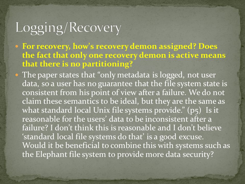 For recovery, how s recovery demon assigned.