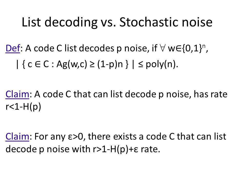 List decoding vs. Stochastic noise Def: A code C list decodes p noise, if w {0,1} n, | { c C : Ag(w,c) (1-p)n } | poly(n). Claim: A code C that can li