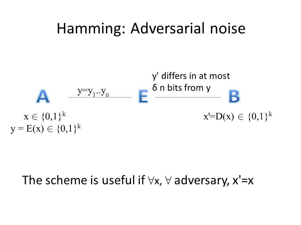 Hamming: Adversarial noise The scheme is useful if x, adversary, x'=x x {0,1} k y = E(x) {0,1} k y=y 1..y n y' differs in at most δ n bits from y x'=D