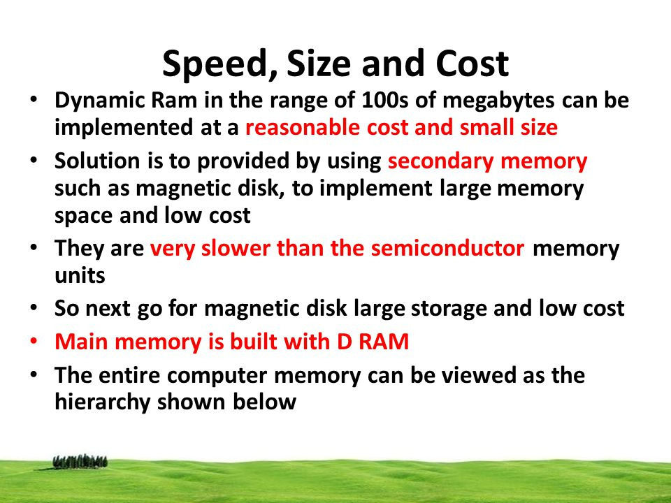 Speed, Size and Cost Dynamic Ram in the range of 100s of megabytes can be implemented at a reasonable cost and small size Solution is to provided by u