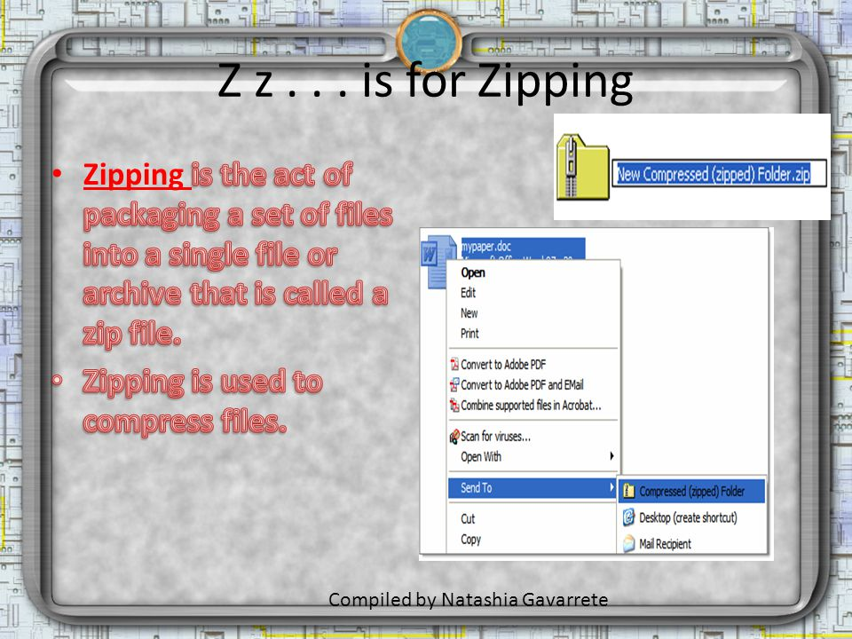 Z z... is for Zipping Compiled by Natashia Gavarrete