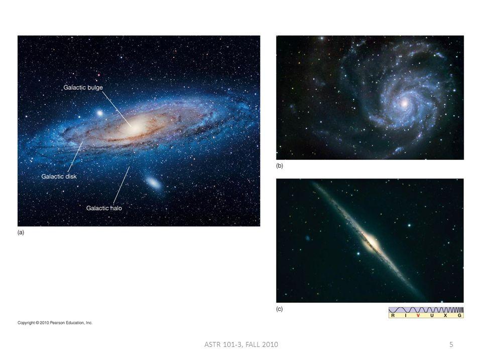 a) a spiral galaxy.b) a barred spiral galaxy. c) an elliptical galaxy.