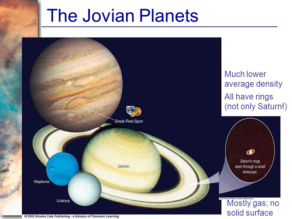 The Jovian Planets Much lower average density All have rings (not only Saturn!) Mostly gas; no solid surface