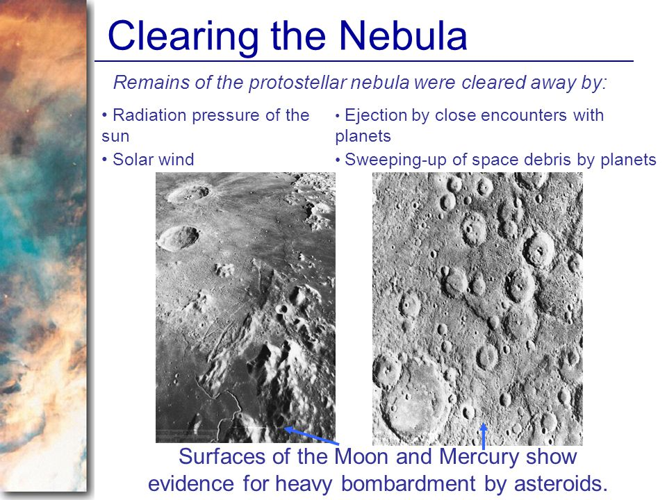 Clearing the Nebula Remains of the protostellar nebula were cleared away by: Radiation pressure of the sun Solar wind Sweeping-up of space debris by p