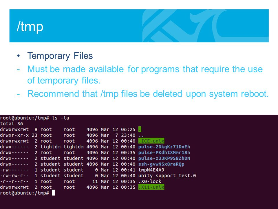 /tmp Temporary Files -Must be made available for programs that require the use of temporary files.