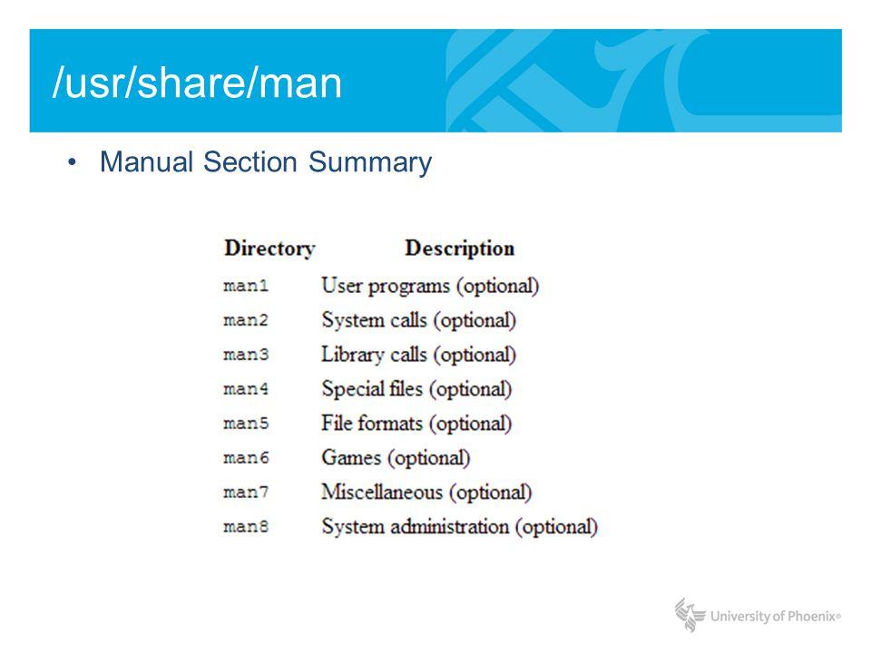 /usr/share/man Manual Section Summary