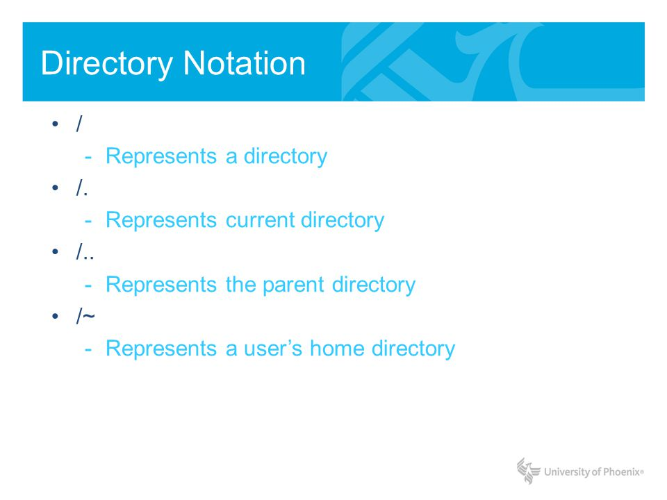 Directory Notation / -Represents a directory /. -Represents current directory /.. -Represents the parent directory /~ -Represents a users home directo
