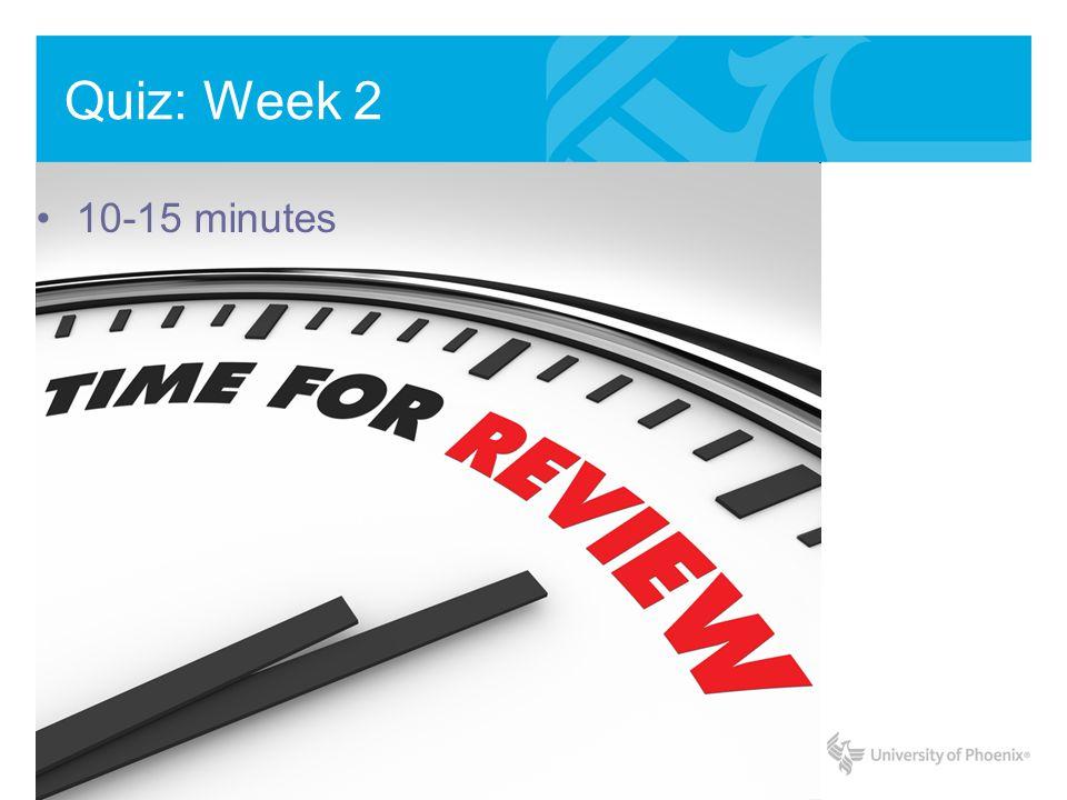 Quiz: Week 2 10-15 minutes