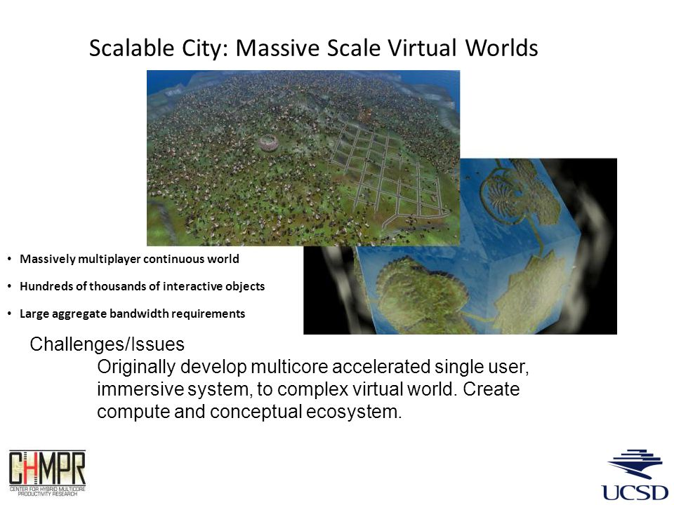 Scalable City: Massive Scale Virtual Worlds Massively multiplayer continuous world Hundreds of thousands of interactive objects Large aggregate bandwidth requirements Challenges/Issues Originally develop multicore accelerated single user, immersive system, to complex virtual world.