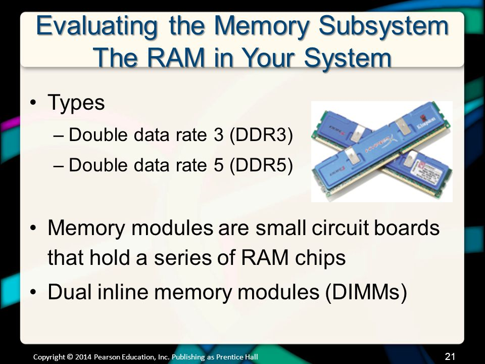 Evaluating the Memory Subsystem The RAM in Your System Types –Double data rate 3 (DDR3) –Double data rate 5 (DDR5) Memory modules are small circuit bo