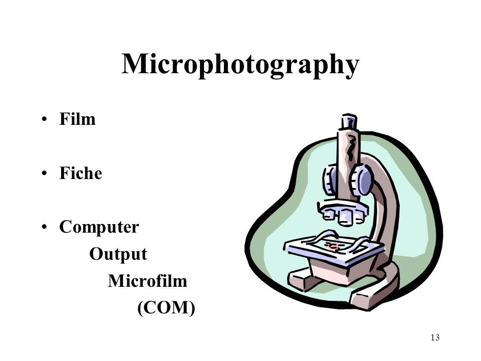 13 Microphotography Film Fiche Computer Output Microfilm (COM)