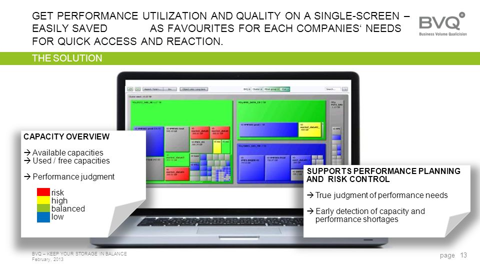 February, 2013 BVQ – KEEP YOUR STORAGE IN BALANCE THE SOLUTION GET PERFORMANCE UTILIZATION AND QUALITY ON A SINGLE-SCREEN – EASILY SAVED AS FAVOURITES FOR EACH COMPANIES NEEDS FOR QUICK ACCESS AND REACTION.