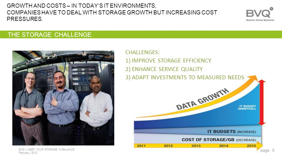 February, 2013 BVQ – KEEP YOUR STORAGE IN BALANCE THE STORAGE CHALLENGE GROWTH AND COSTS – IN TODAYS IT ENVIRONMENTS, COMPANIES HAVE TO DEAL WITH STORAGE GROWTH BUT INCREASING COST PRESSURES.