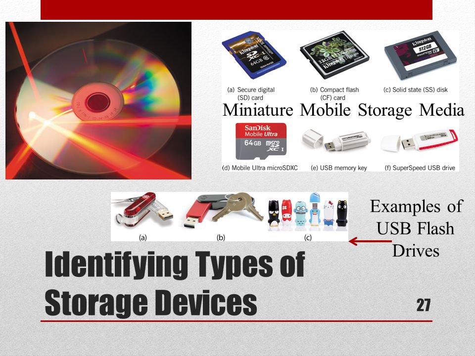 Identifying Types of Storage Devices Miniature Mobile Storage Media Examples of USB Flash Drives 27