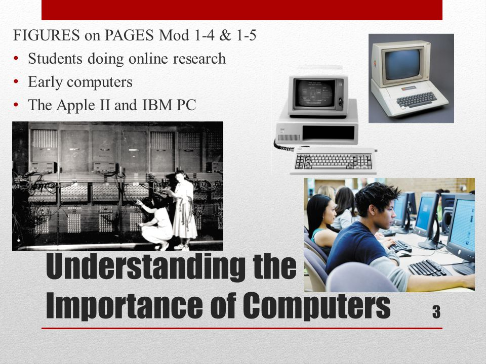 Understanding the Importance of Computers FIGURES on PAGES Mod 1-4 & 1-5 Students doing online research Early computers The Apple II and IBM PC 3