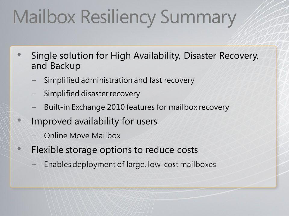 Mailbox Resiliency Summary