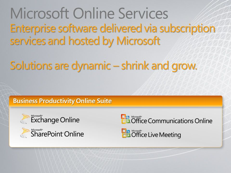 Enterprise software delivered via subscription services and hosted by Microsoft Solutions are dynamic – shrink and grow. Microsoft Online Services Ent