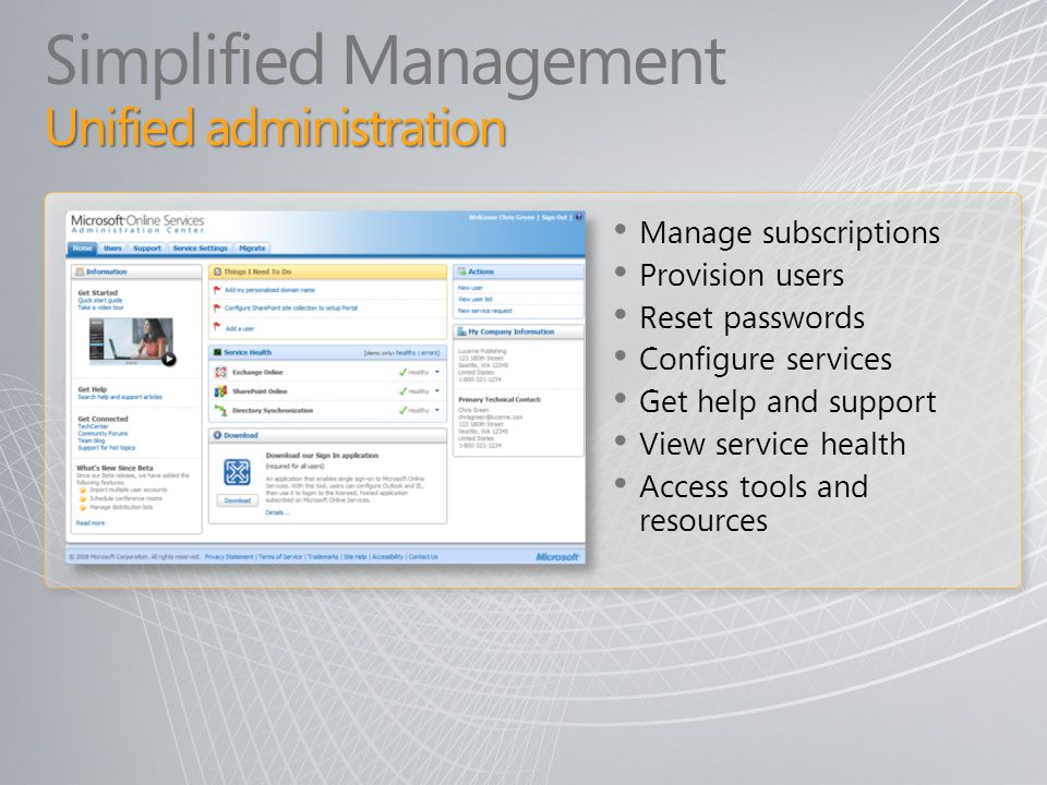Unified administration Simplified Management Unified administration Manage subscriptions Provision users Reset passwords Configure services Get help a