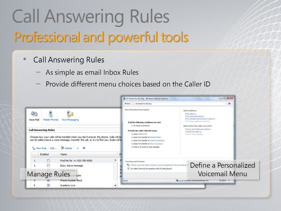 Call Answering Rules Manage Rules Define a Personalized Voicemail Menu Professional and powerful tools Call Answering Rules As simple as email Inbox R
