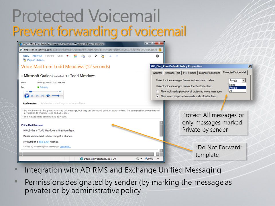 Do Not Forward template Integration with AD RMS and Exchange Unified Messaging Permissions designated by sender (by marking the message as private) or