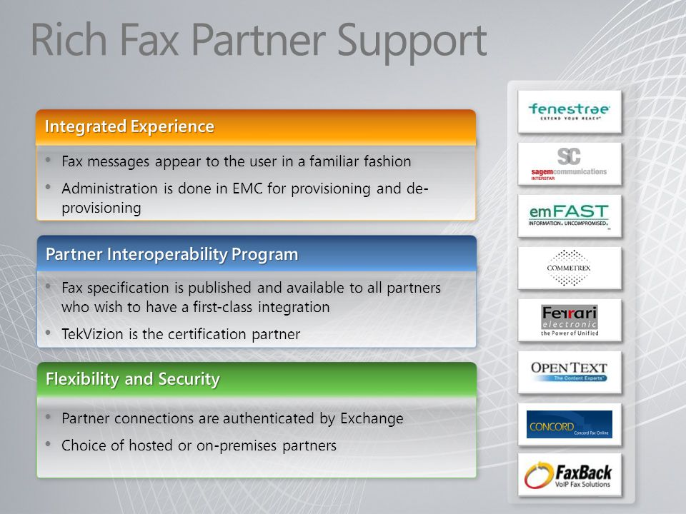 Fax specification is published and available to all partners who wish to have a first-class integration TekVizion is the certification partner Fax spe