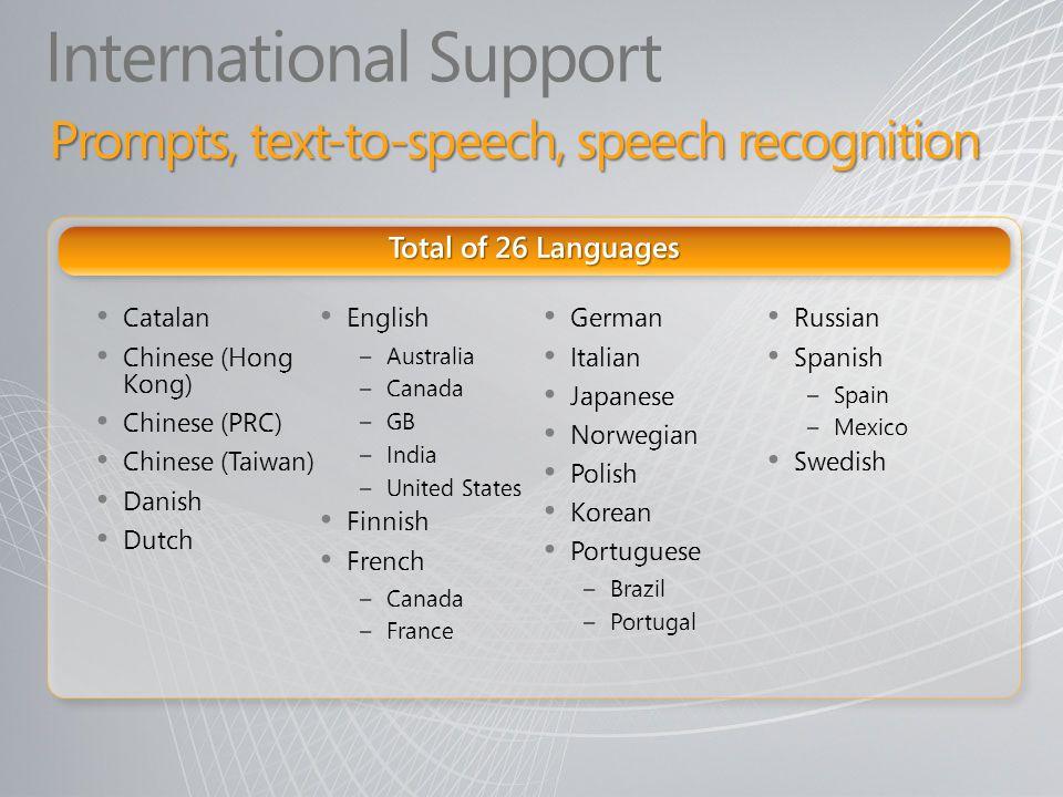 International Support Catalan Chinese (Hong Kong) Chinese (PRC) Chinese (Taiwan) Danish Dutch English – Australia – Canada – GB – India – United State