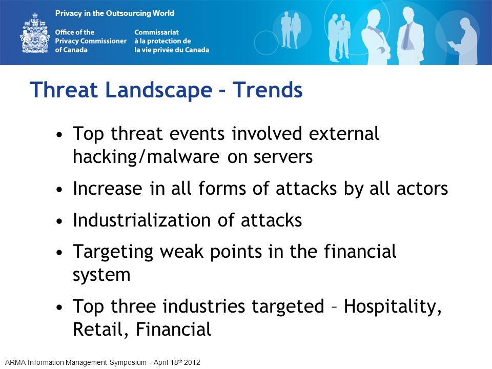ARMA Information Management Symposium - April 18 th 2012 Privacy in the Outsourcing World Threat Landscape - Trends Top threat events involved externa