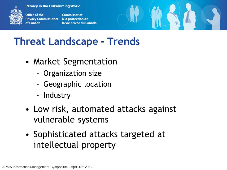 ARMA Information Management Symposium - April 18 th 2012 Privacy in the Outsourcing World Threat Landscape - Trends Market Segmentation –Organization