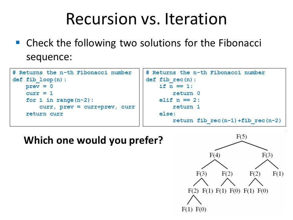 Recursion vs. Iteration Check the following two solutions for the Fibonacci sequence: # Returns the n-th Fibonacci number def fib_loop(n): prev = 0 cu