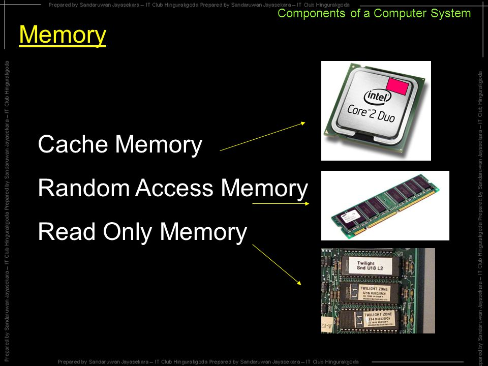 Components of a Computer System Memory Cache Memory Random Access Memory Read Only Memory